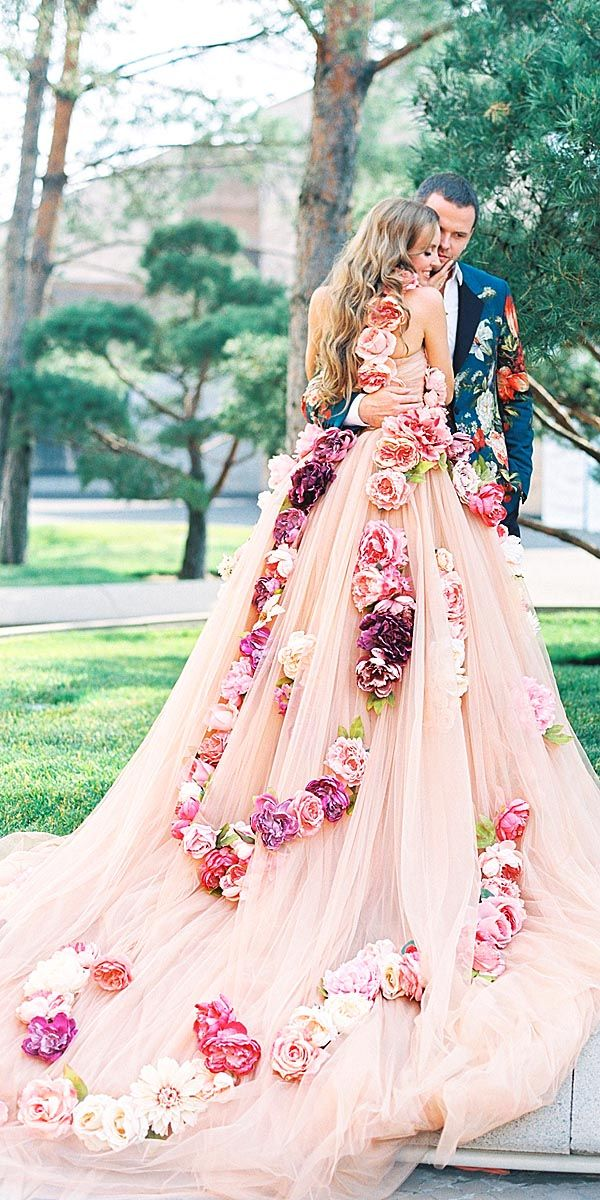 Pink floral wedding dress