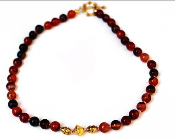 Choker Beaded Necklace Has Round Deep Red and Brown Agate