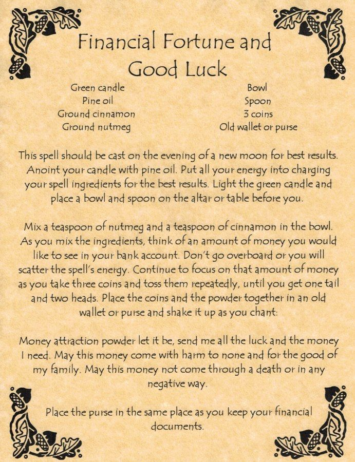Book of Shadows Page - Financial Fortune and Good Luck - Money Spell - Wicca in Collectibles   eBay