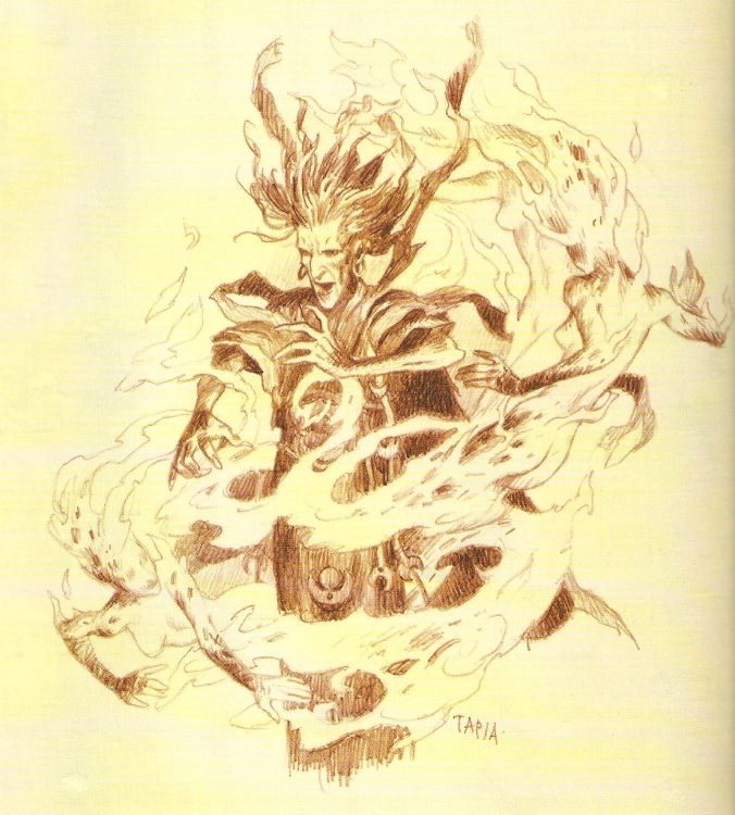 Cephus Thyerra, a mage mainly skilled in the body, fire, mind and spirit lores, summons two fire spirits in his tower in the west Minaeth mountains.