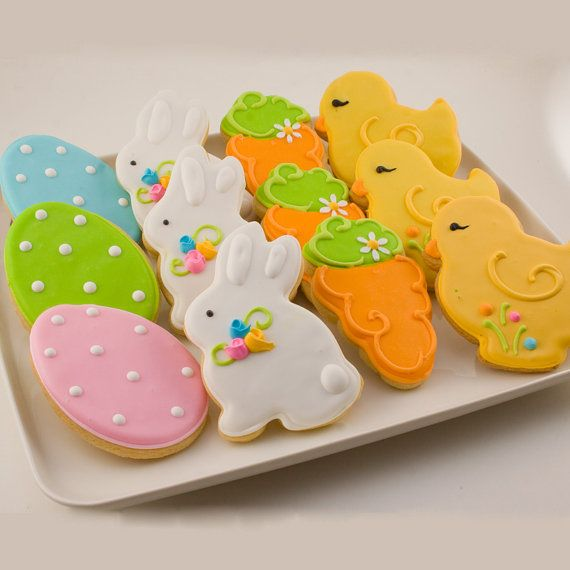 Easter Cookies, junior sized - Bunny, Chick, Egg and Carrots (12 cookies) on Etsy, $24.00