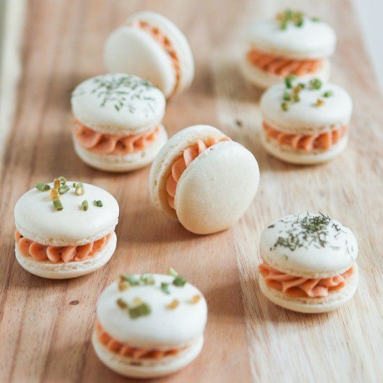 Chive & Dill Smoked Salmon Macarons. A savory and elegant tea time treat!