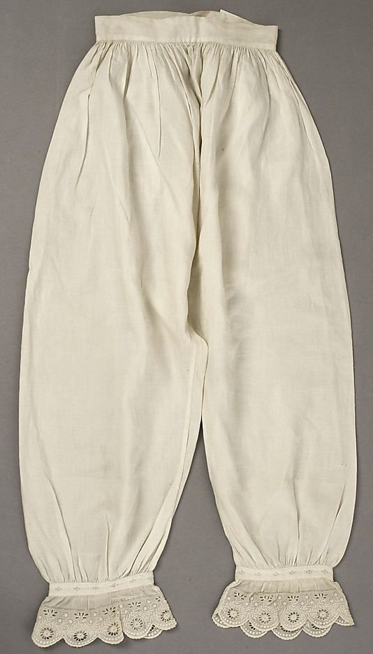 Drawers Date: 1840s Culture: American Medium: linen Dimensions: Length: 37 in. (94 cm) Credit Line: Gift of Mr. and Mrs. Daniel Thompson, 1952 Accession Number: C.I.52.48.1