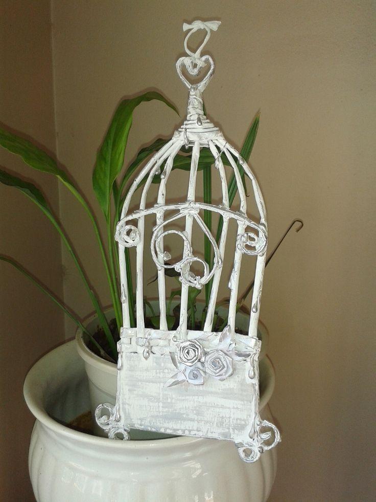 door / Wall hanger - duvar / kapı süsü - newspaper craft - nostalgic - paper art - diy bird cage