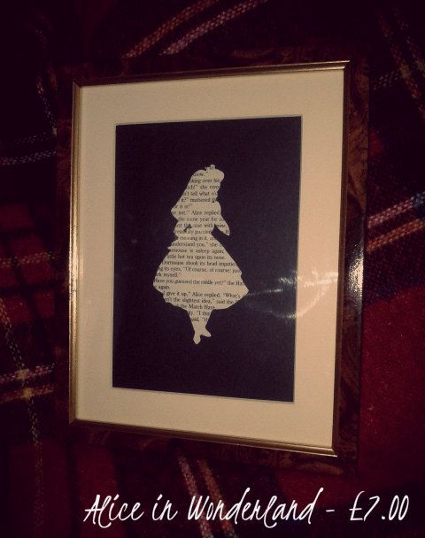 Alice in Wonderland Vintage Text Silhouette - Handcrafted - Framed