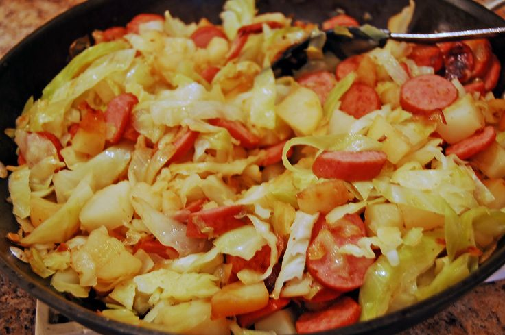 bubble and squeak: potatoes, cabbage, sausage and onions. cheap and easy weeknight dinner