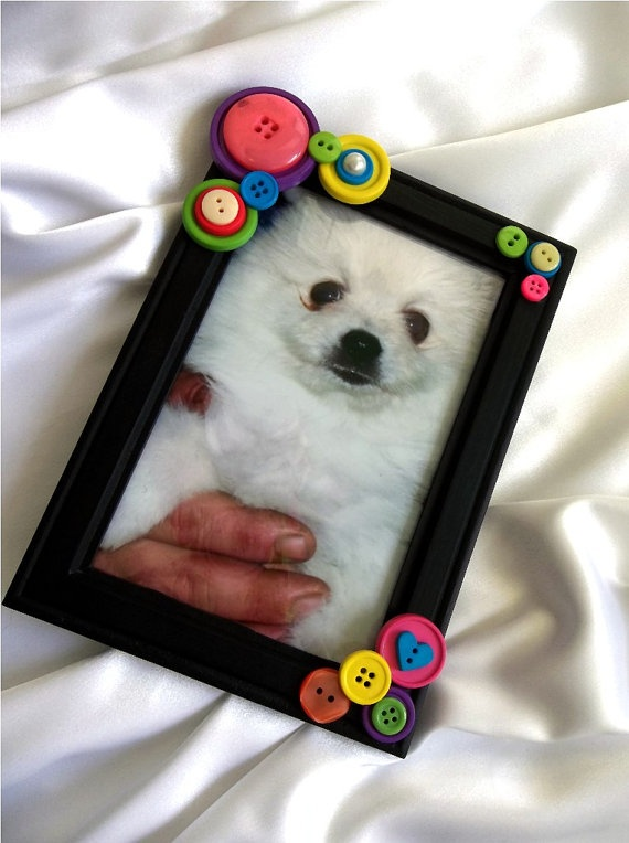 Black Button Embellished Photo Frame 4 x 6  Pink by PowersOfLove, $8.00