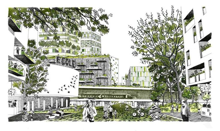 Illustrations pour les ateliers J.Nouvel+ Rogers Stirk Harbour and partners + TVK+ M.Desvigne paysagiste