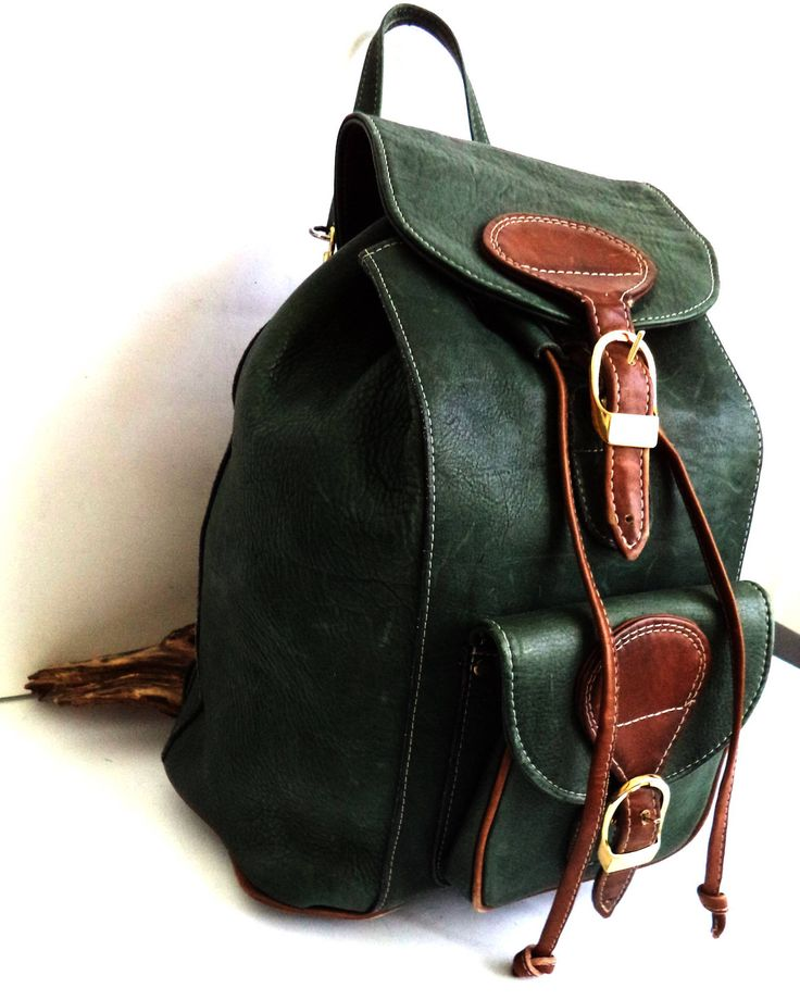 Large Green Leather Bucket Rucksack Bacpack Bag Boho drawstring Italian Prince Leather Travel Carry-on Holdall Weekender Gold Buckle Belted by MushkaVintage3 on Etsy