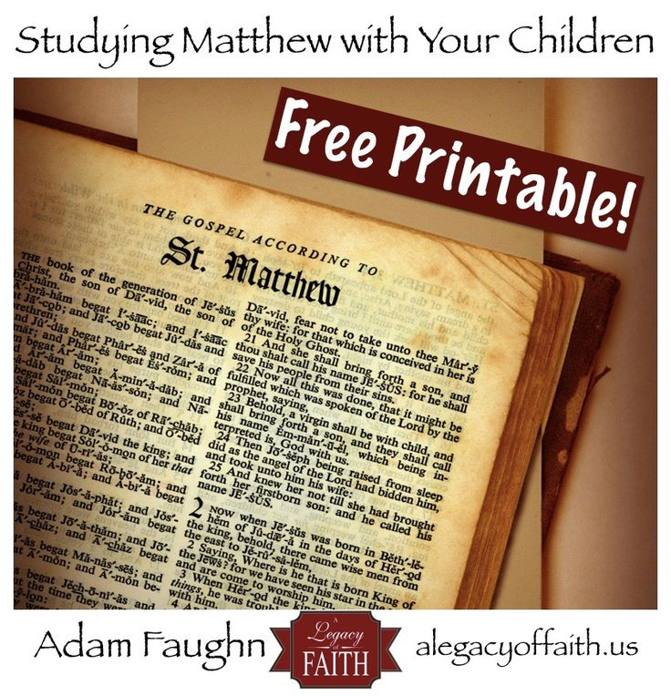 Simple worksheets for each of the 28 chapters of Matthew, to help you dig into this great book with your children.
