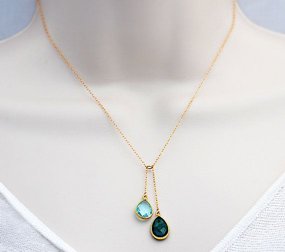 Kids birthstones? Hub & my birthstones?Natural birthstone station cascade necklace - gold or silver, bezel set Danique Collection on Etsy, $38.99