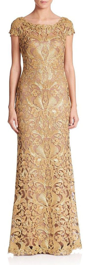 """cord lace cap sleeve gown by Tadashi Shoji. Floor-length gown with an embroidered lace design. Crewneck. Cap sleeves. Concealed back zip.V-back. About 62"""" from shoulder to hem. Rayon/nylon/polyester. Dry clean. Imported. Models shown is 5'10"""" (177cm) wearing US size 4. #tadashishoji #dresses #gowns"""