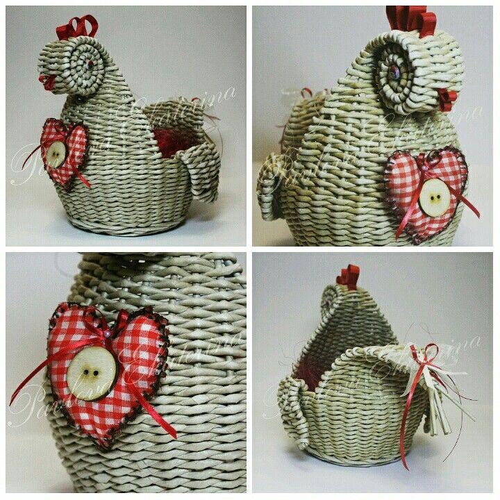 Плетение из бумажной лозы. Пасхальная курочка. На заказ primak86@mail.ru