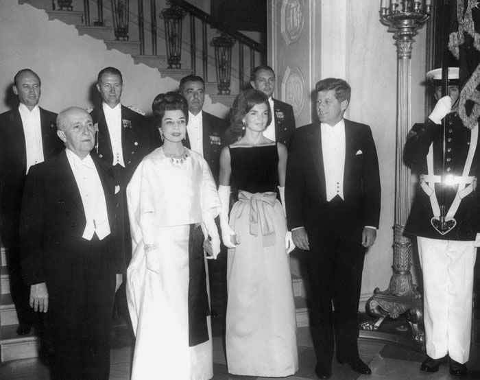 September 19, 1961   Dinner for the President of the Republic of Peru and Senora De Prado  Hosted by President and Mrs. Kennedy  White House (State Dining Room and East Room)  Salmon Mousse Tomato and Cucumber Salad Tournedos Heloise Roast Potatoes Green Beans with Almonds Assorted Cheeses St. Honore Cake Demitasse Entertainment: Opera singers Jerome Hines and Roberta Peters  Photos by Robert Knudsen, JFK Library