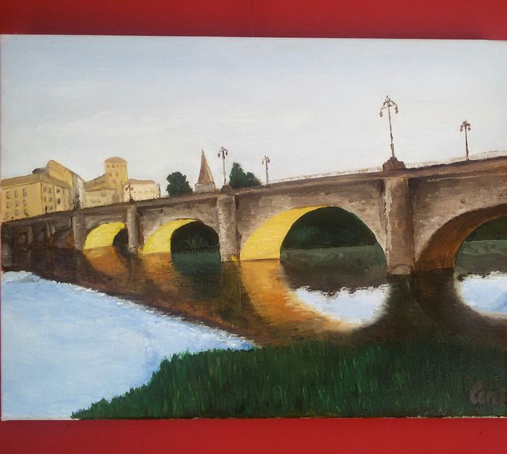 Somos autodidactas. Aprendemos día a día. Óleo del puente de piedra de Logroño. #provokarte #ceniworks #óleo #logroño #larioja #autodidactas #arte #art #pintura #aprendiendotodoslosdias  www.provokarte.es