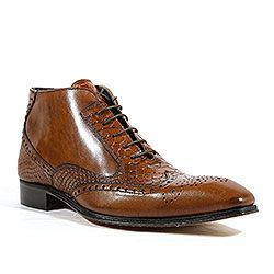 Duca Italian Mens Shoes Calf Snake Print Cuoio Boots (D1102)