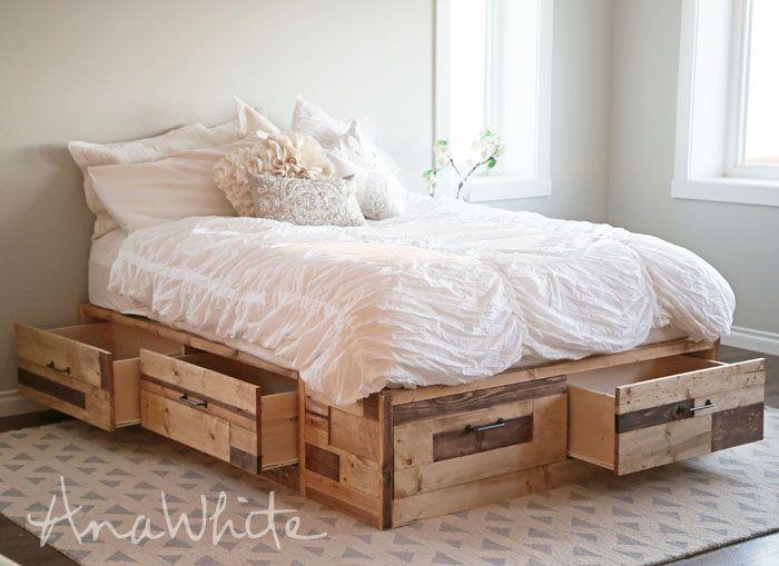 Ana Blanco | Construir un Brandy Trozo de madera de almacenamiento Cama con cajones | Proyecto de bricolaje libre y fácil y Planes de muebles