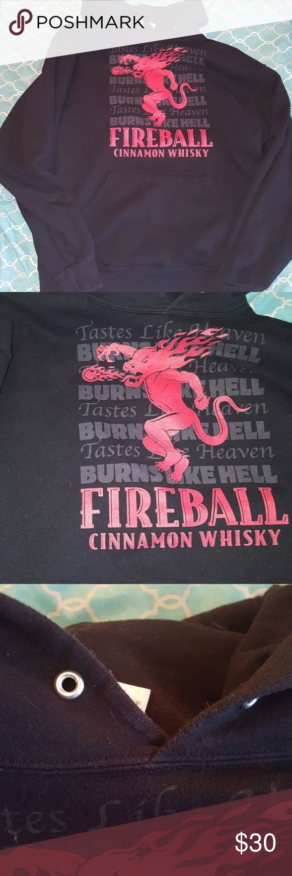 Fireball Cinnamon Whiskey Hoodie Good used condition. Missing draw strings. jerzees Sweaters