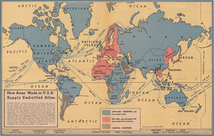 """How arms """"Made in U.S.A."""" supply embattled allies, 1942. [[MORE]]This map was published by the American newspaper Philadelphia Inquirer on February 13, 1942. The territory colored blue (""""Anti-Axis..."""