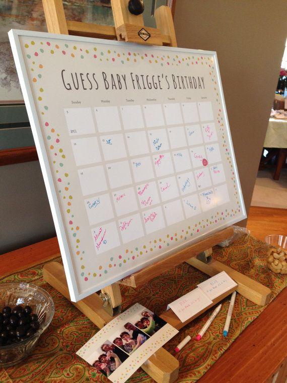 Baby Shower Due Date Calendar by GraceFDesign on Etsy