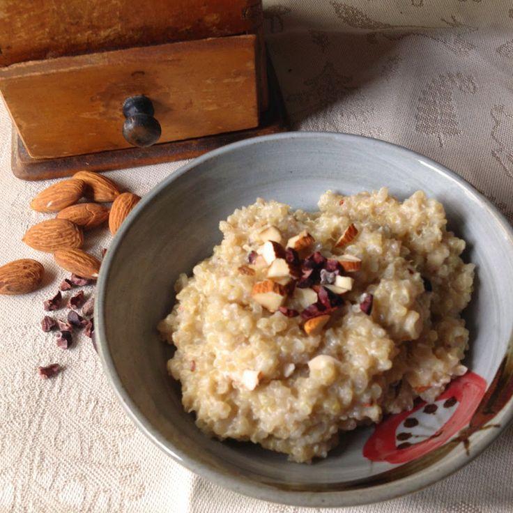 Quinoa porridge with almond and cocoa nibs! Recipe from www.wildaboutporridge.blogspot.com