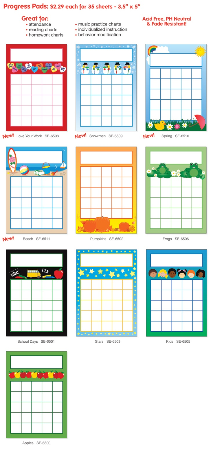 Shapes Etc. Progress Pads - Notepad tablet that features ...