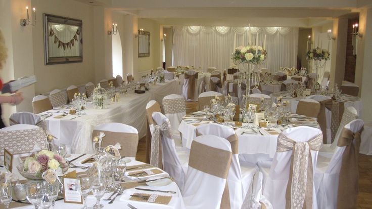 Hessian sashes with lace - we love these.