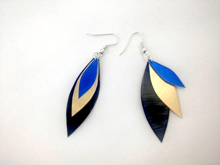 Boucles d'oreille plumes noires dorées et bleues en capsule de café Nespresso