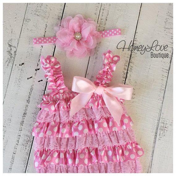 Light Pink and White Polka Dot Satin & Pink Lace Petti Romper - Flower Rhinestone Pearl Headband - photo prop, smash cake, 1st birthday set by HoneyLoveBoutique