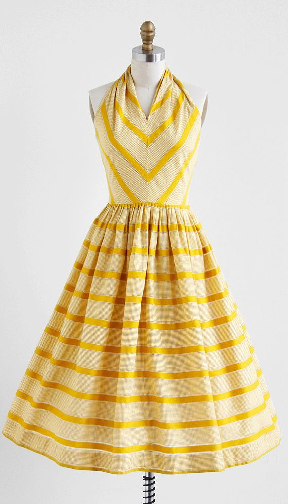 yellow striped sun dress / vintage 1950s