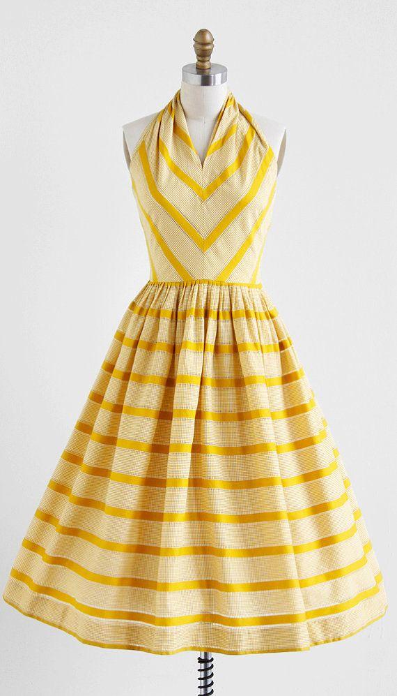 yellow striped sun dress / vintage 1950s