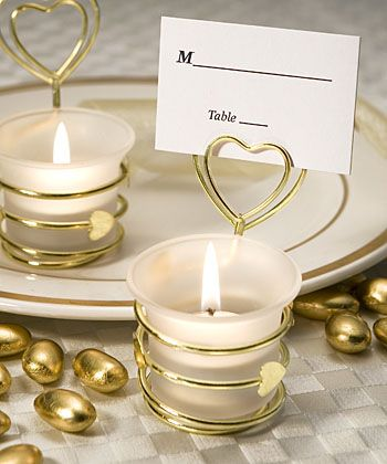 Heart Design Candle Favors/Place Card Gold Holders