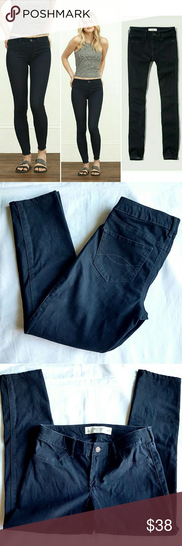"""Abercrombie and Fitch Jean Leggings Supersoft denim with a premium stretch to flatter your figure! Feels like velvet. All-over rich dark color, iconic back pocket stitching, jean legging fit. 80% cotton 17% viscose 3% elastin.  14.5"""" waist,  8"""" rise,  24"""" inseam. Abercrombie & Fitch Jeans Ankle & Cropped"""