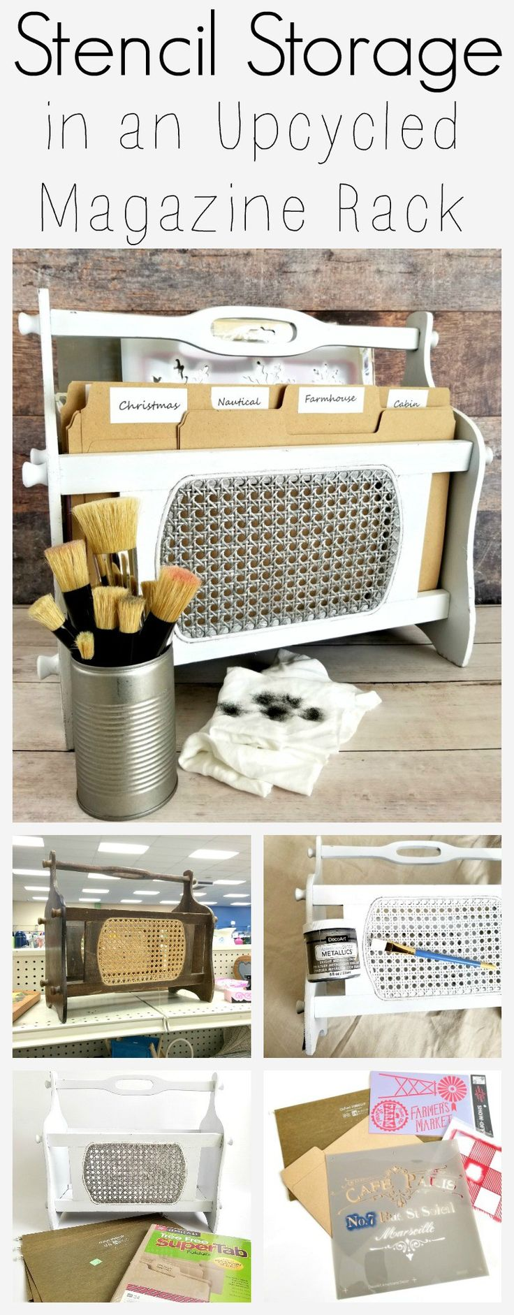 "An outdated magazine rack from the thrift store gets a modern industrial makeover and repurpose with this fun DIY tutorial! Love the idea of giving pressed cane a ""metal"" look...and upcycling the magazine rack as a portable file as stencil storage is genius! Of course, you could use it for filing paper or other ephemera, too. Great thrift store repurpose craft project from Sadie Seasongoods / www.sadieseasongoods.com"