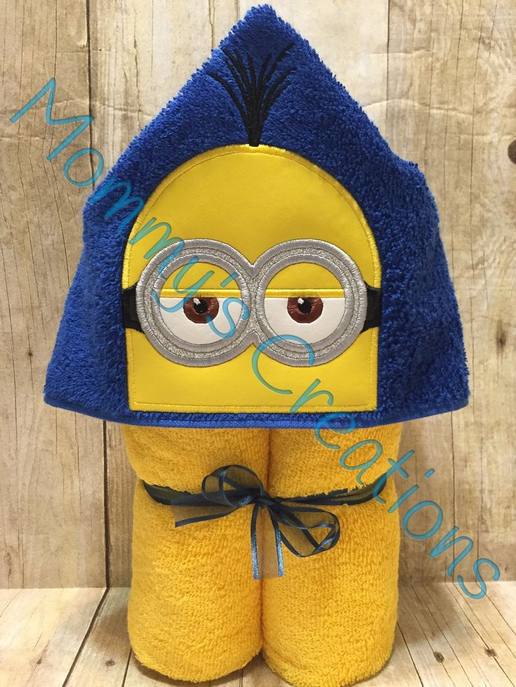 """Yellow Follower Kevin Applique Hooded Bath Towel, Beach Towel 30"""" x 54"""" by MommysCraftCreations on Etsy"""