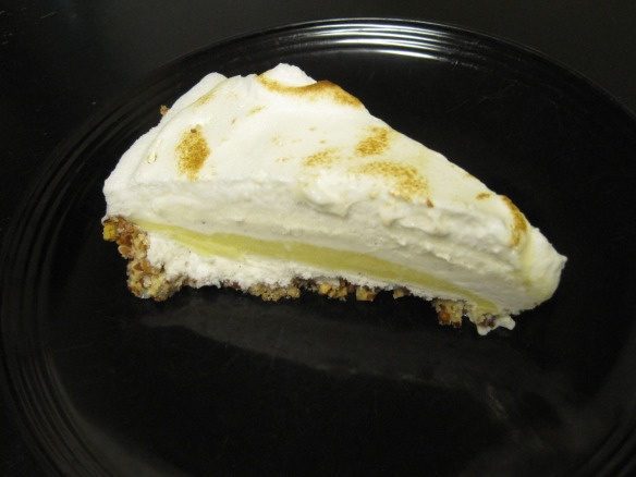 Lemon meringue ice cream pie with toasted pecan crust. A refreshing ...