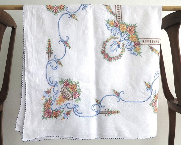 Hand embroidered square tablecloth with cross stitched floral bouquets and other embellishments, 50 inches / 127 cm square, mid 20th century by CardCurios on Etsy