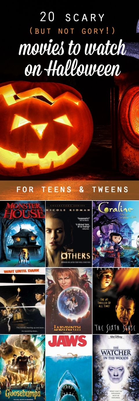 great list of scary movies for tweens and teens to watch on Halloween - movies that are scary but not gory or bloody