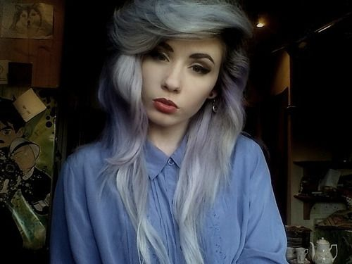 gray hair hipster | grey hair # hipster # red lips ...