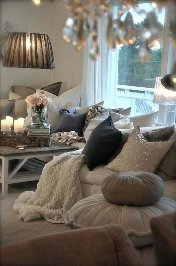 DIY...Ideas To Add Cottage Style Glam to Your Home ! Love the different pillows and textures. Want this for my couch...