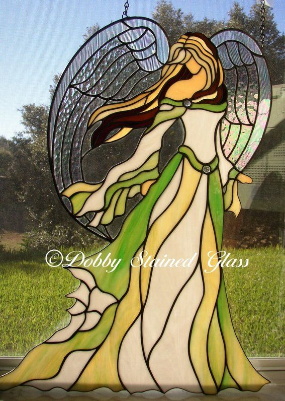 Custom Made Stained Glass Panel - Angel Of Beauty