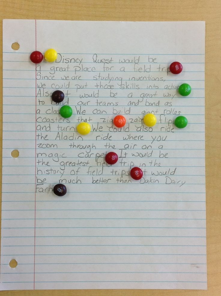 After my students write a piece I have them leave it on their desks when they go to lunch or special area classes. I place a Skittle on each correct punctuation mark (and I usually put one or two one if they indent a paragraph). Let me tell you, Skittles are the great motivator!