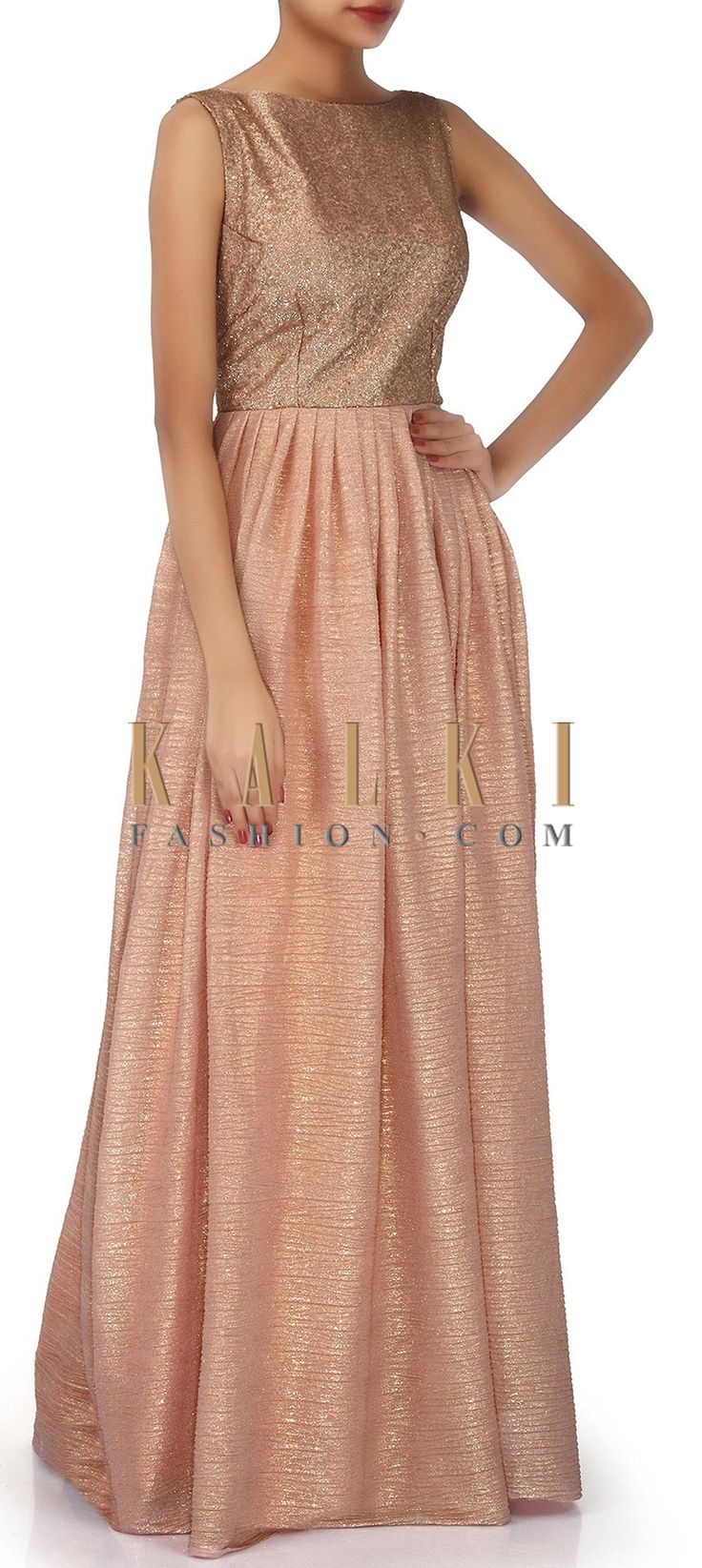 Buy Online from the link below. We ship worldwide (Free Shipping over US$100). Product SKU - 304498. Product Link - http://www.kalkifashion.com/peach-suit-adorn-in-sequin-bodice-only-on-kalki.html
