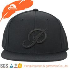 Puff embroidery mens fashion snapback hats and caps black