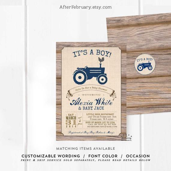 Tractor Baby Shower Invitation Boy