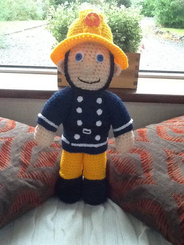 Fireman Sam. Handmade. Buy him here - https://www.facebook.com/CBKnits