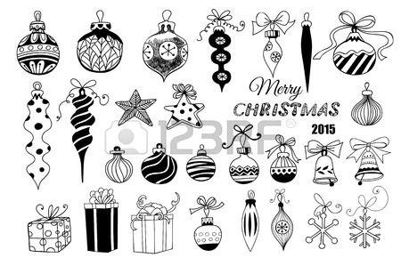 Palline di natale Hand disegnato insieme di decorazioni di Natale Palline con archi stelle fiocchi d Archivio Fotografico