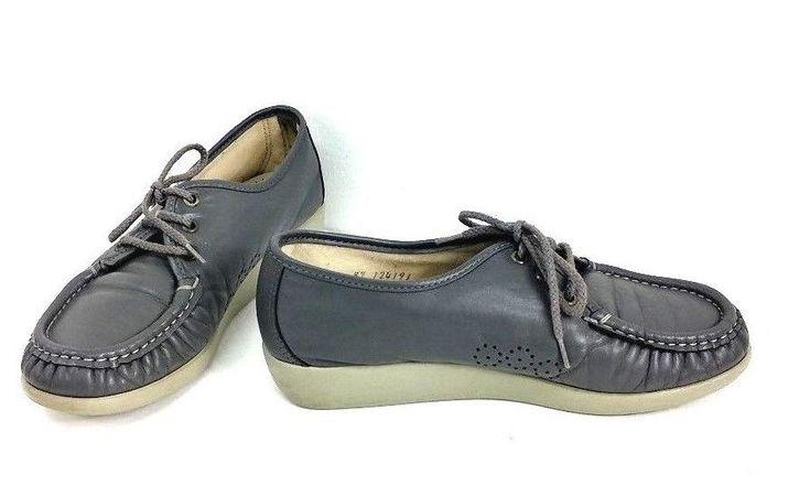 SAS Womens  7 M Lace  Gray Lace Up Tripad Comfort Moccasin Oxford Soft Heel #SAS #LoafersMoccasins