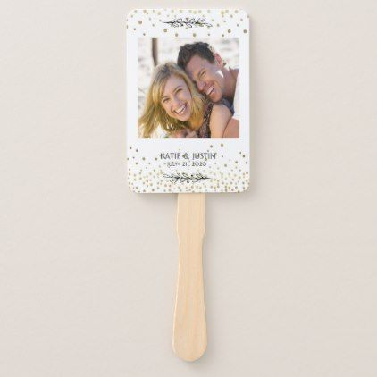 Stay Cool Gold Confetti Photo Wedding Hand Fans - married gifts wedding anniversary marriage party diy cyo
