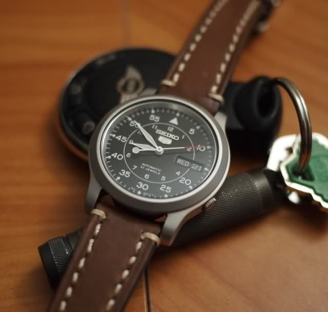 seiko snk809 with brown leather strap